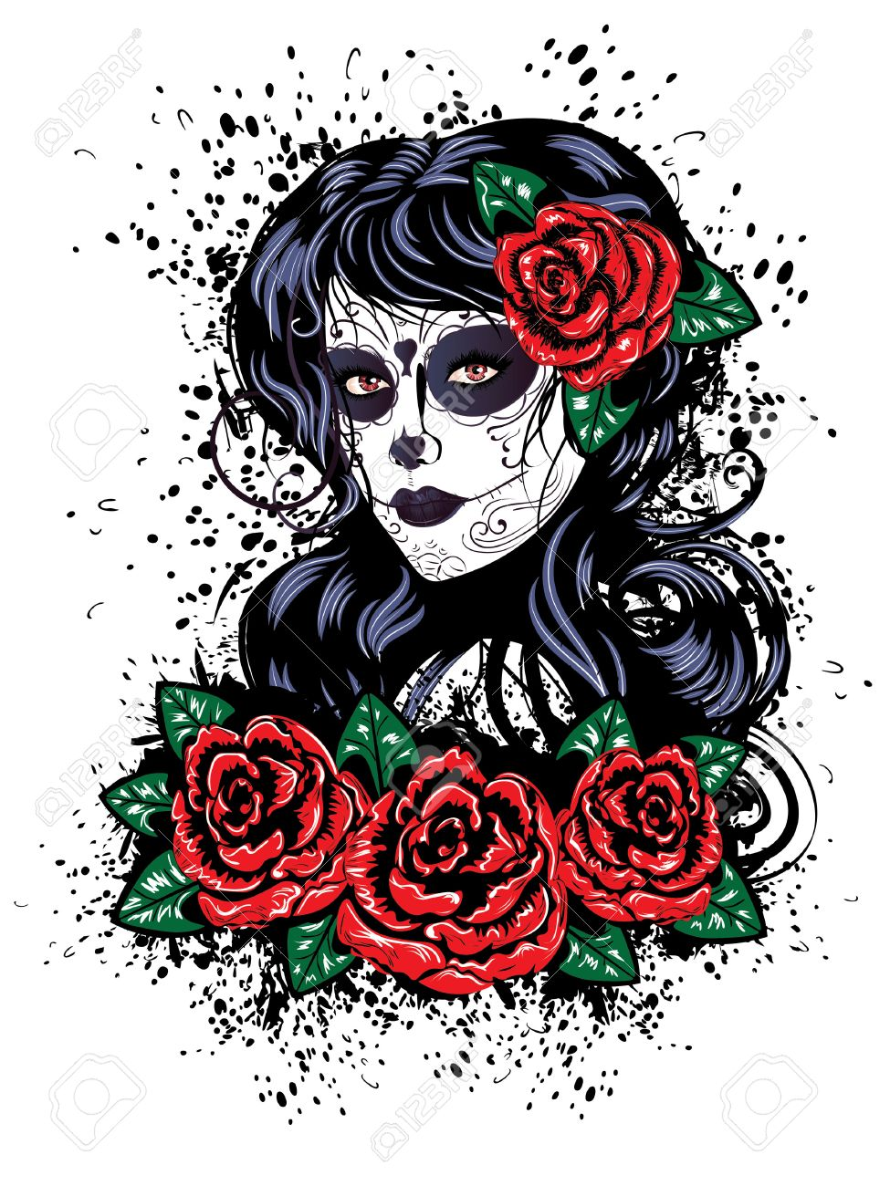 58b2b1cb4b2c5 Vector - Vintage sugar skull girl with roses for Day of the Dead (Dia de  los Muertos).