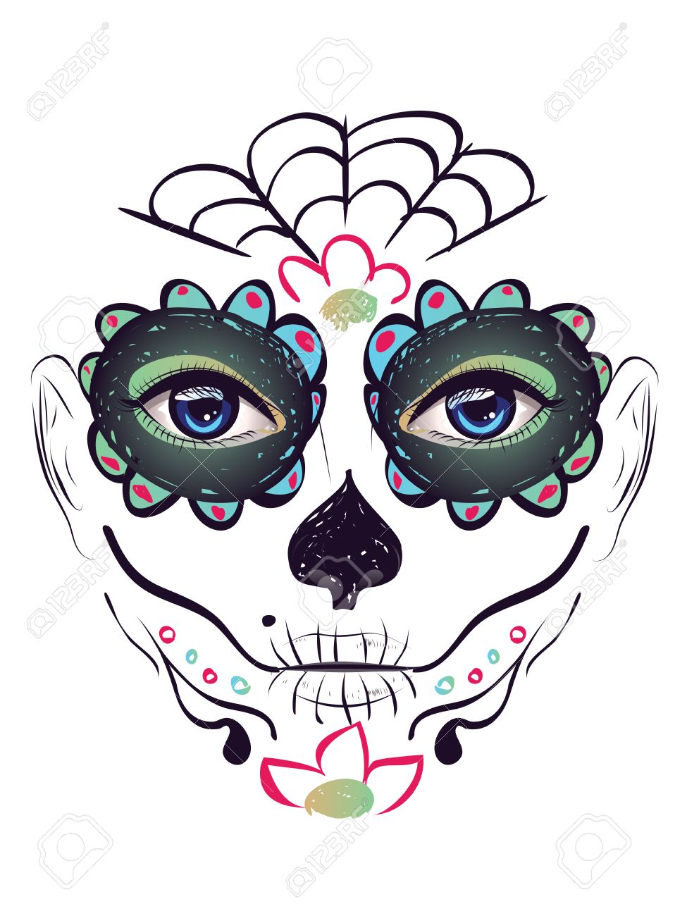 Sugar Skull Girl Face With Make Up For Day Of The Dead Dia De