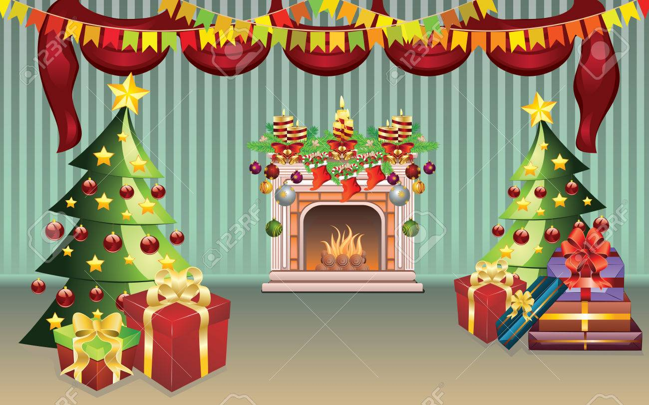 Cartoon Living Room Interior Decorated For Christmas Royalty Free