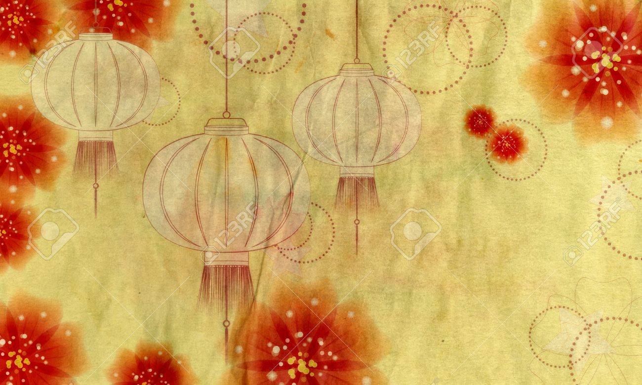 Decorative Oriental Asian Paper Lantern With Flowers Abstract