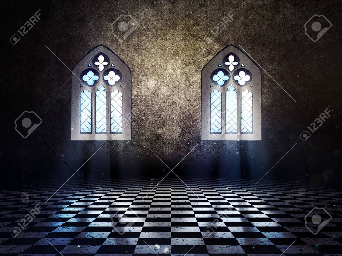 Illustration Of An Abstract Grunge Interior With Gothic Window Stock