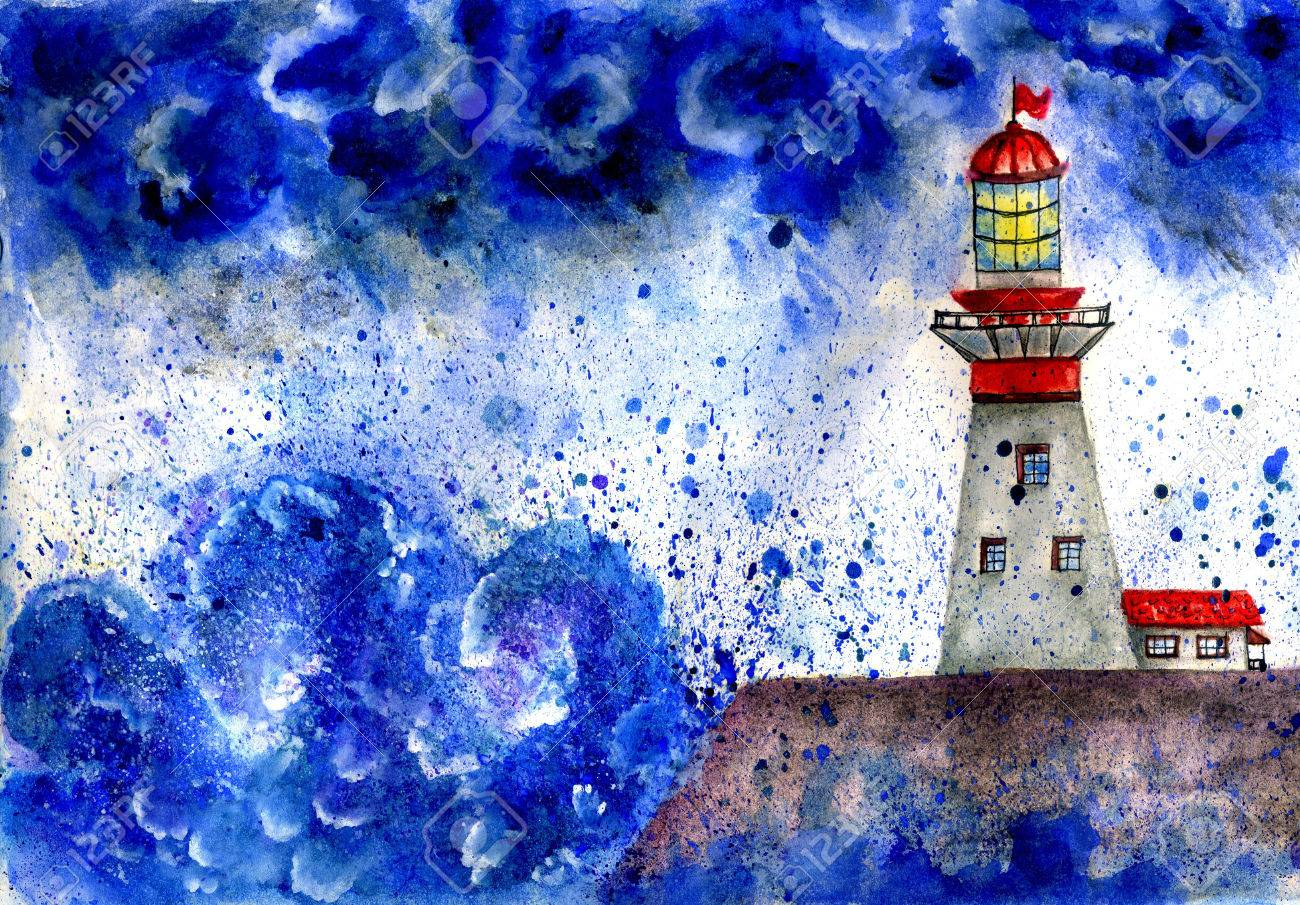Watercolor painting of a red white lighthouse in the stormy sea