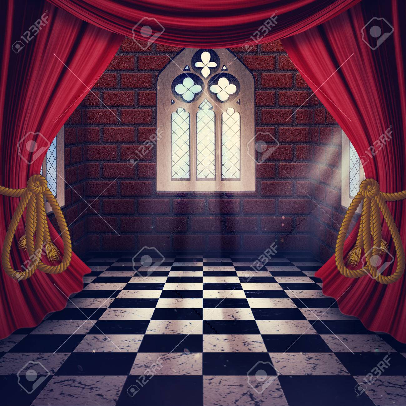 Royalty free or white curtain background drapes royalty free stock - Room With Opened Drapes Curtains And Gothic Window Background Stock Photo 56360137