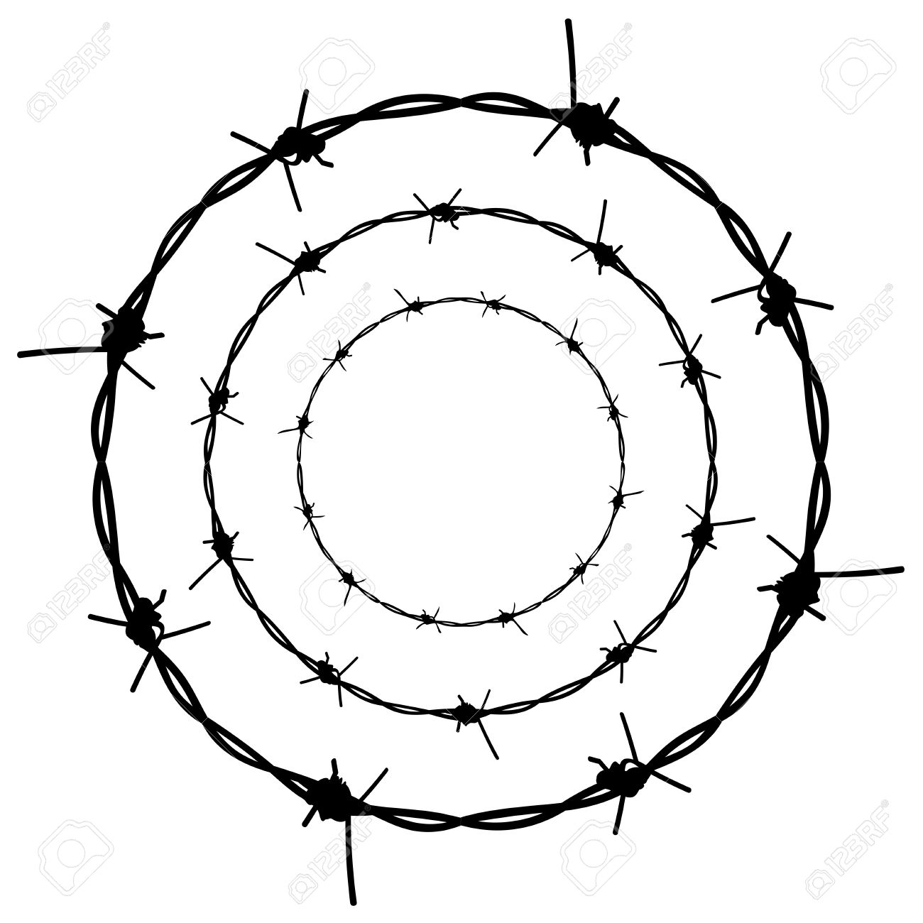 Silhouette barbed wire illustration on white background. - 57810359
