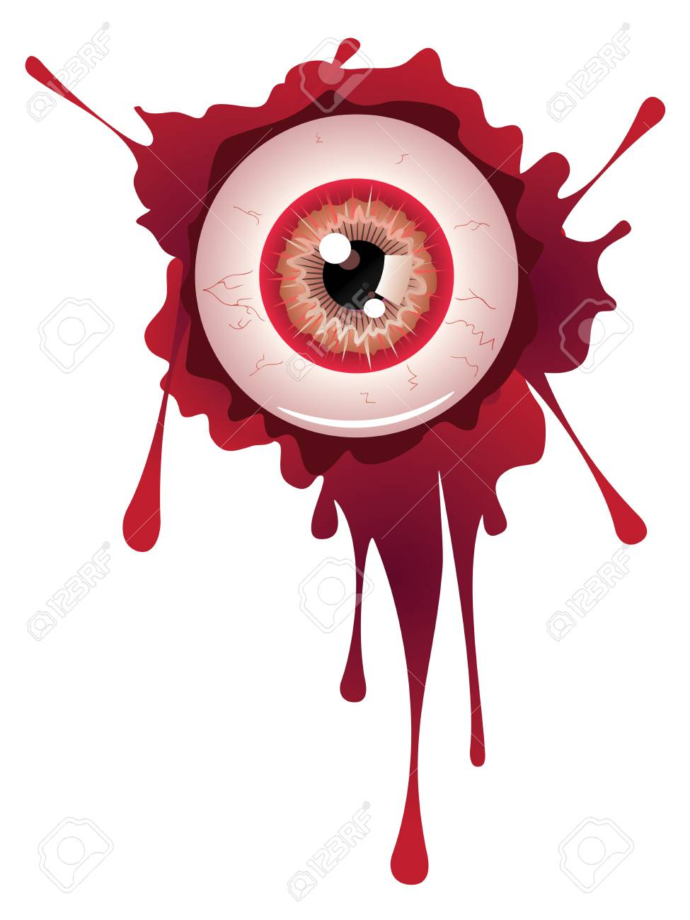 Spooky halloween eyeball with grunge blood splatter