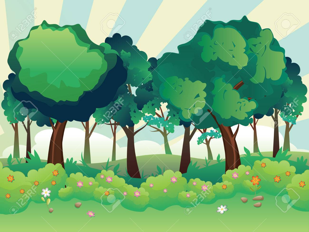 Cartoon Summer Forest Landscape With Green Shrubs Trees And Royalty Free Cliparts Vectors And Stock Illustration Image 64507393 6,688 transparent png illustrations and cipart matching cartoon tree. cartoon summer forest landscape with green shrubs trees and