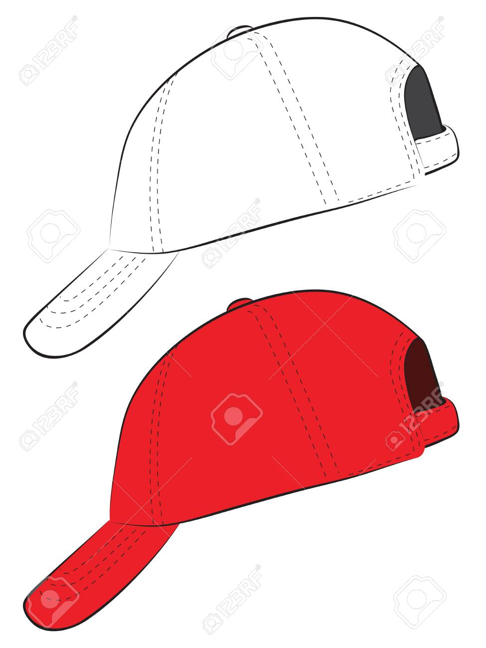 Simple Baseball Cap Design In Red And Line Art de5a8a8be2c