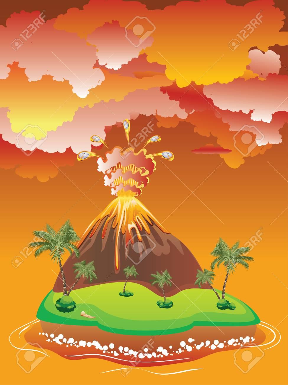 Ilustración De La Erupción Del Volcán Del Dibujo Animado Con La Lava
