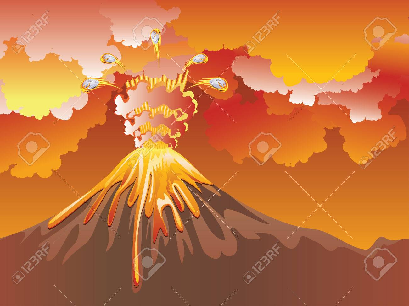 Ilustracion De La Erupcion Del Volcan Del Dibujo Animado Con La Lava