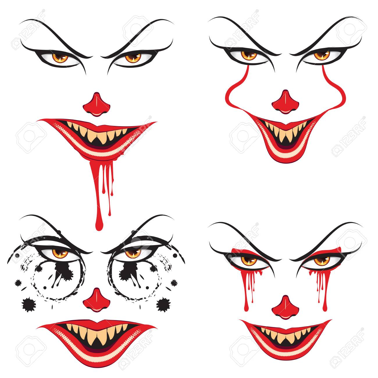 Dessin Visage Halloween.Cartoon Face With Creepy Make Up For Halloween Royalty Free Cliparts Vectors And Stock Illustration Image 88858028