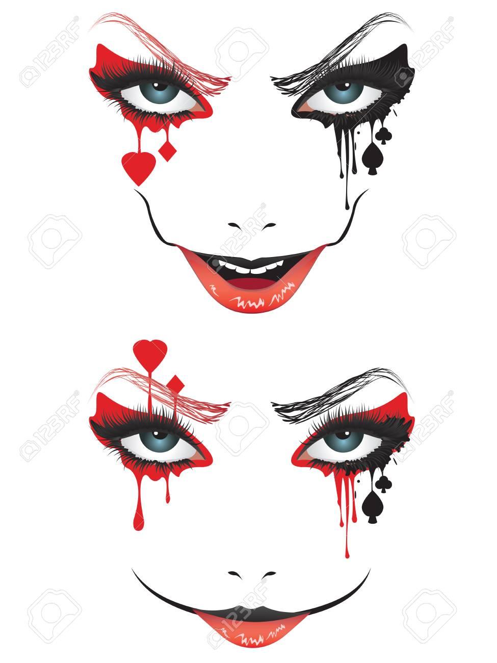 Visage De Dessin Animé Avec Maquillage Effrayant Pour Halloween