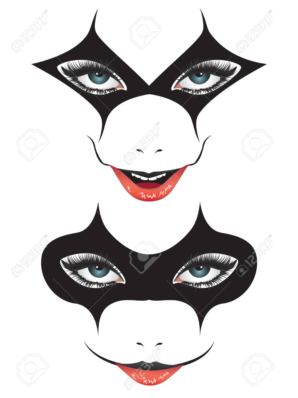 Dessin Visage Halloween.Cartoon Face With Creepy Make Up For Halloween Royalty Free Cliparts Vectors And Stock Illustration Image 89722521