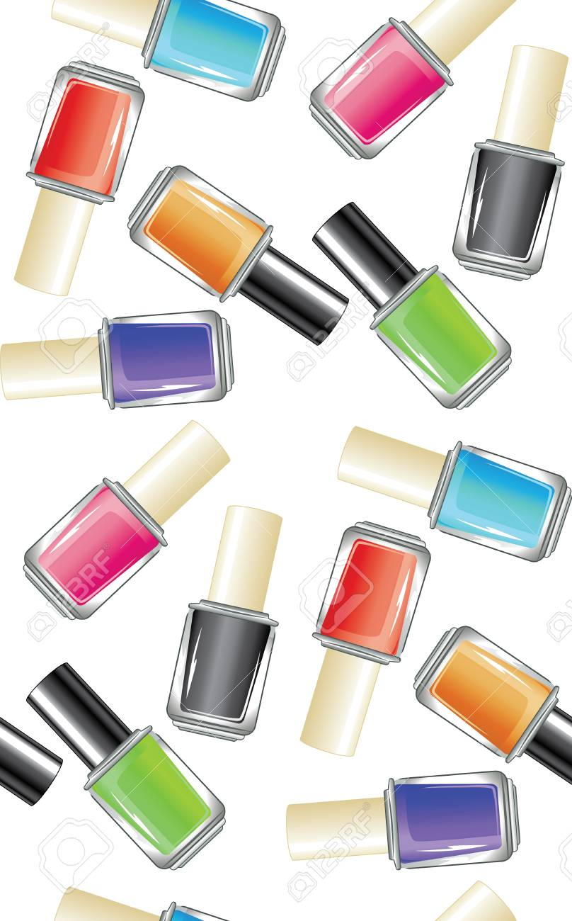 Glossy Colorful Nail Polish, Lacquer In A Glass Bottle. Royalty Free ...