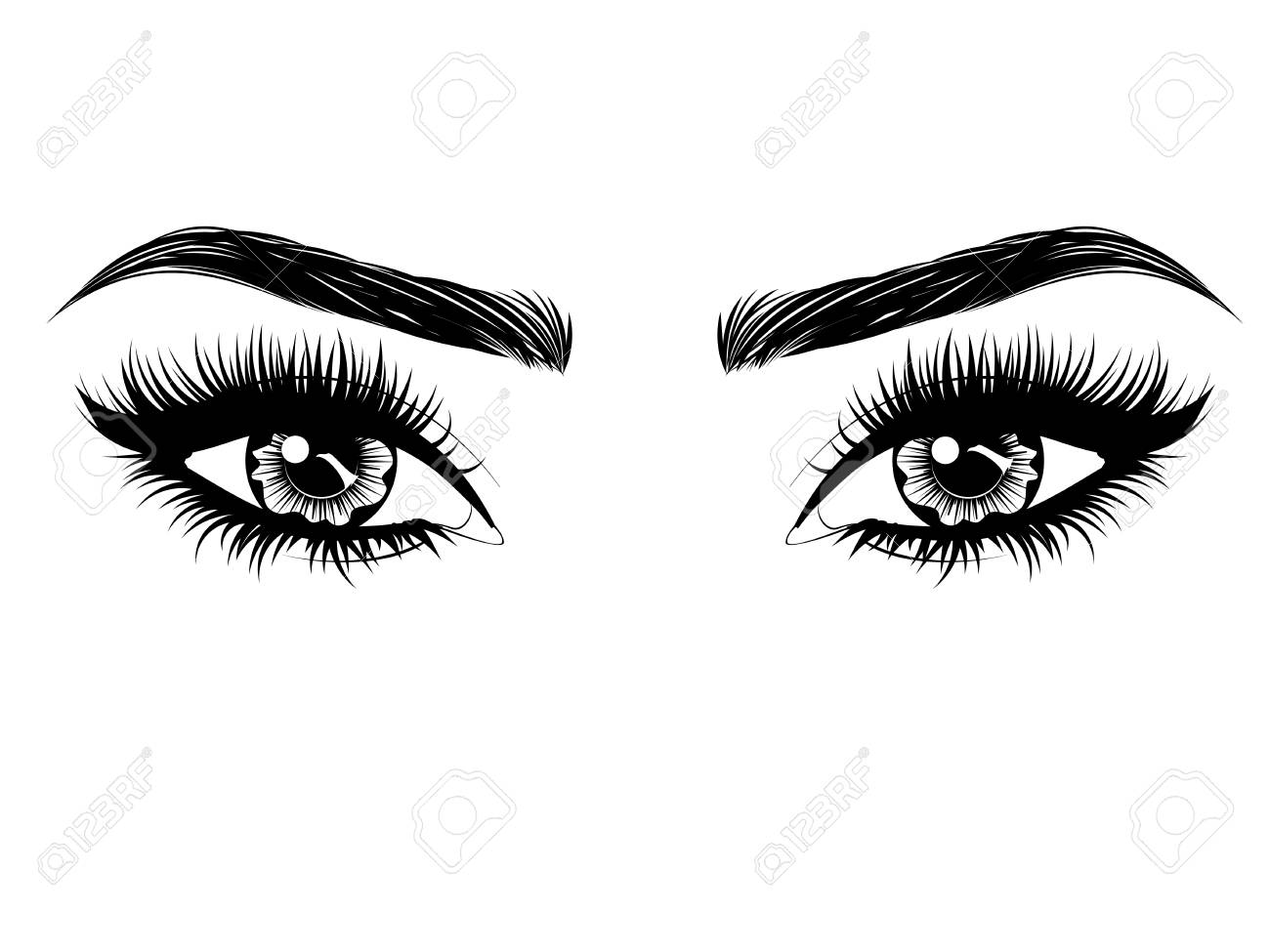 Female eyes with long black eyelashes and thick brows on white