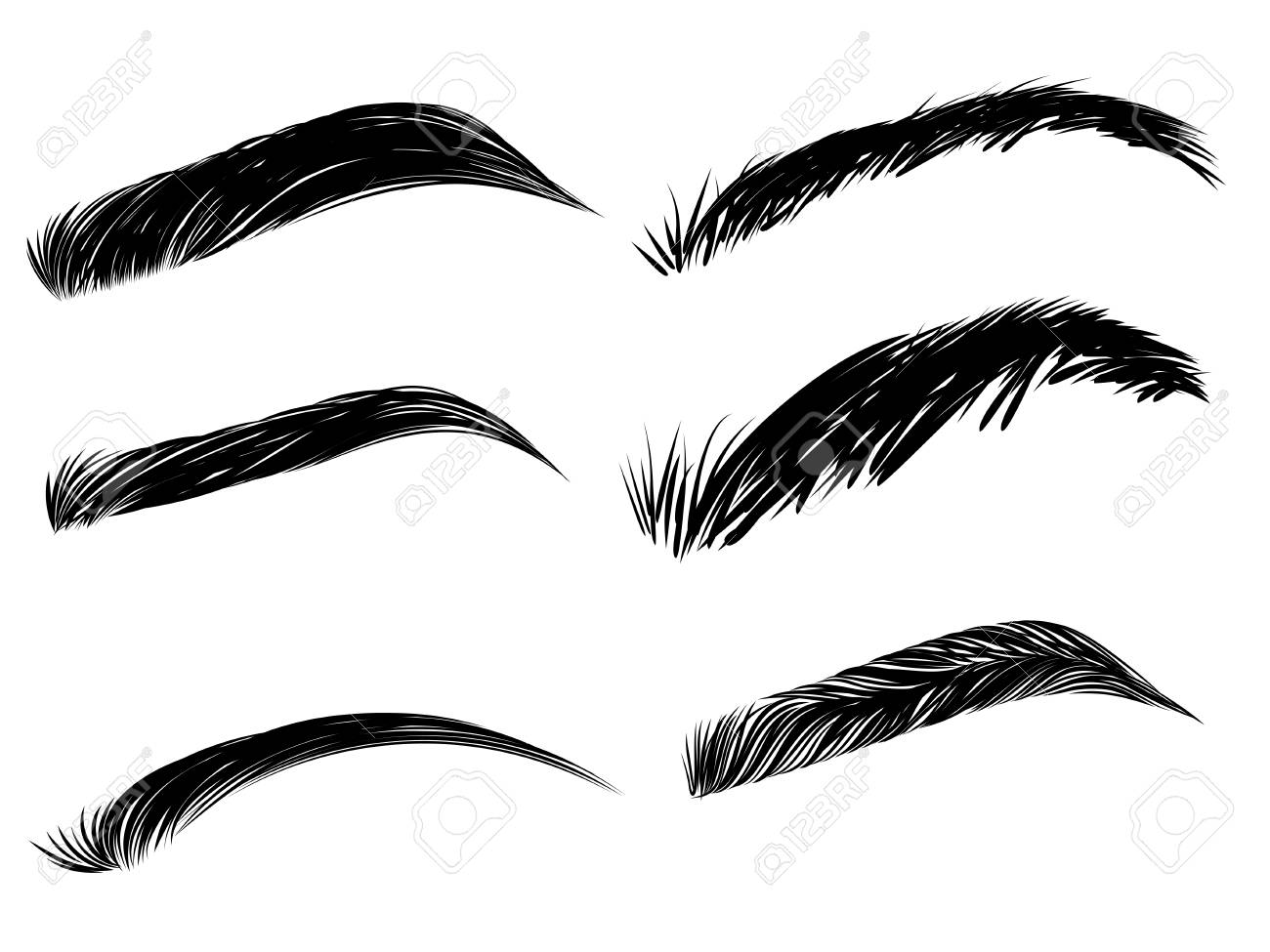 Collection of black detailed eyebrows on white background