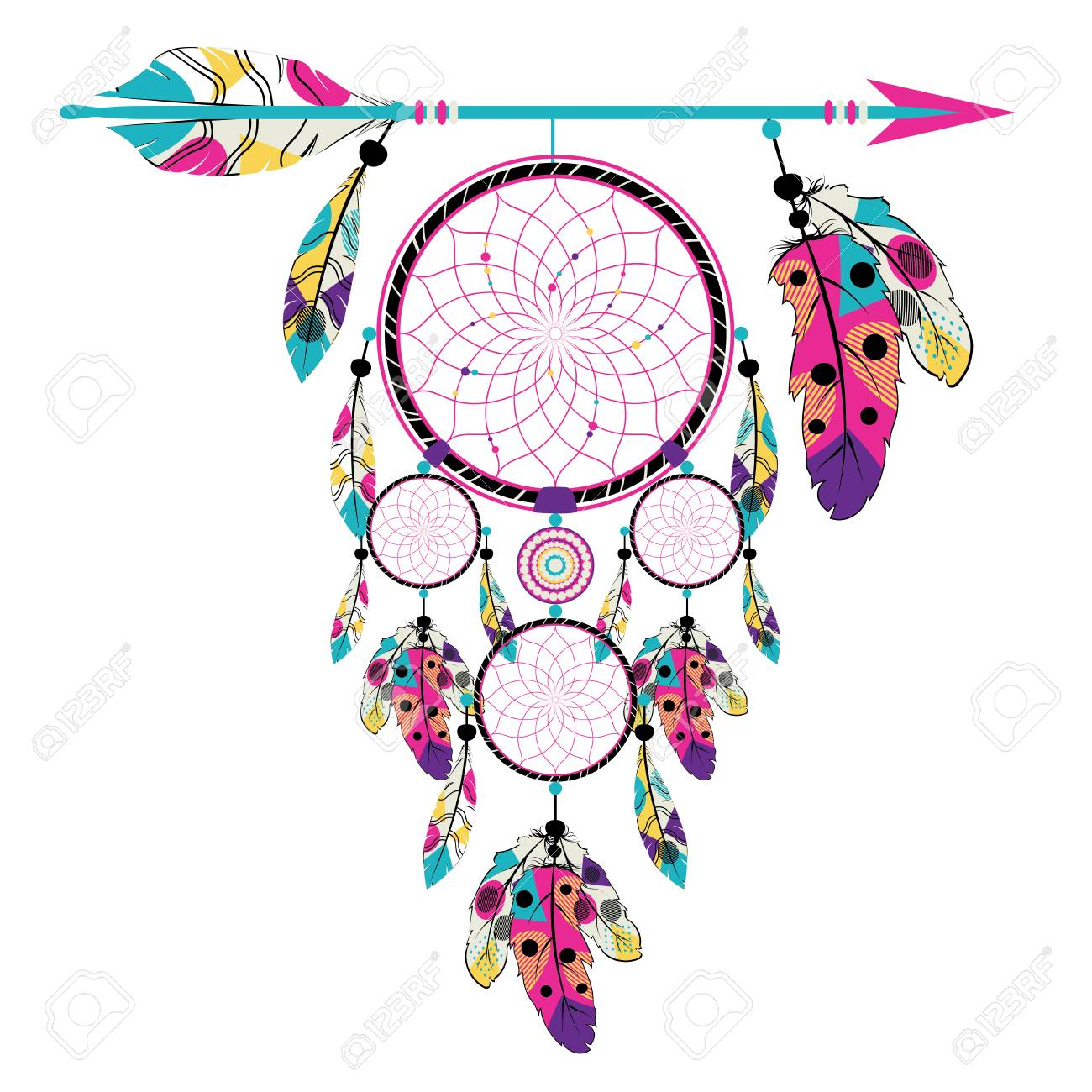 Feather Clipart Pink Boho Feather Clipart Tribal Border Clipart Dreamcatcher Clipart Commercial Use Clipart Set Boho Tribal Clipart Set