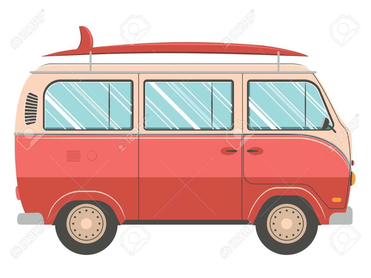 Illustration of retro traveling van design on white background. - 124075554