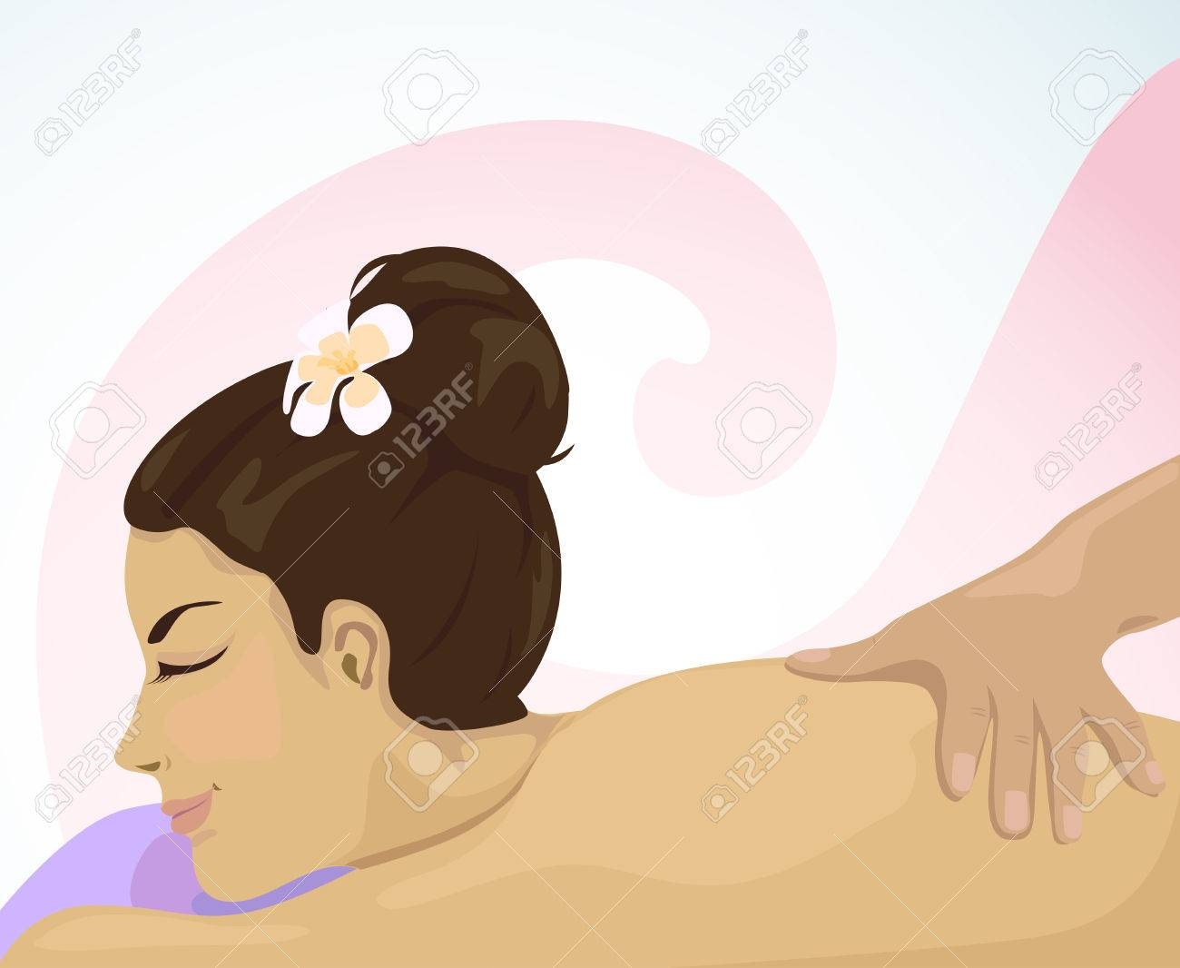 Reflexology and massages for relaxation. woman have smile on her face with relaxing massage. Stock Vector - 22731506