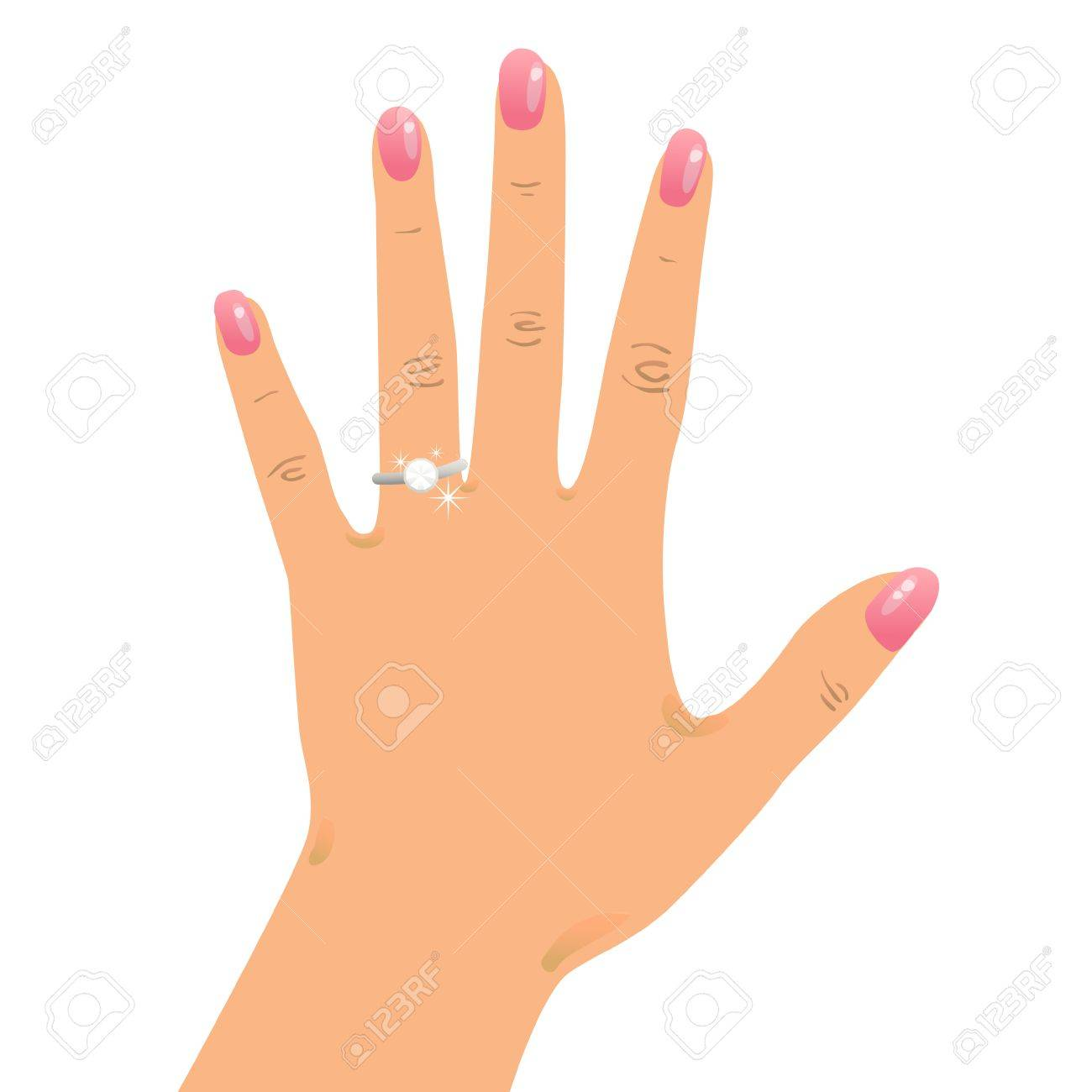 Hand Wearing Engagement Ring And Wedding Ring Royalty Free Cliparts
