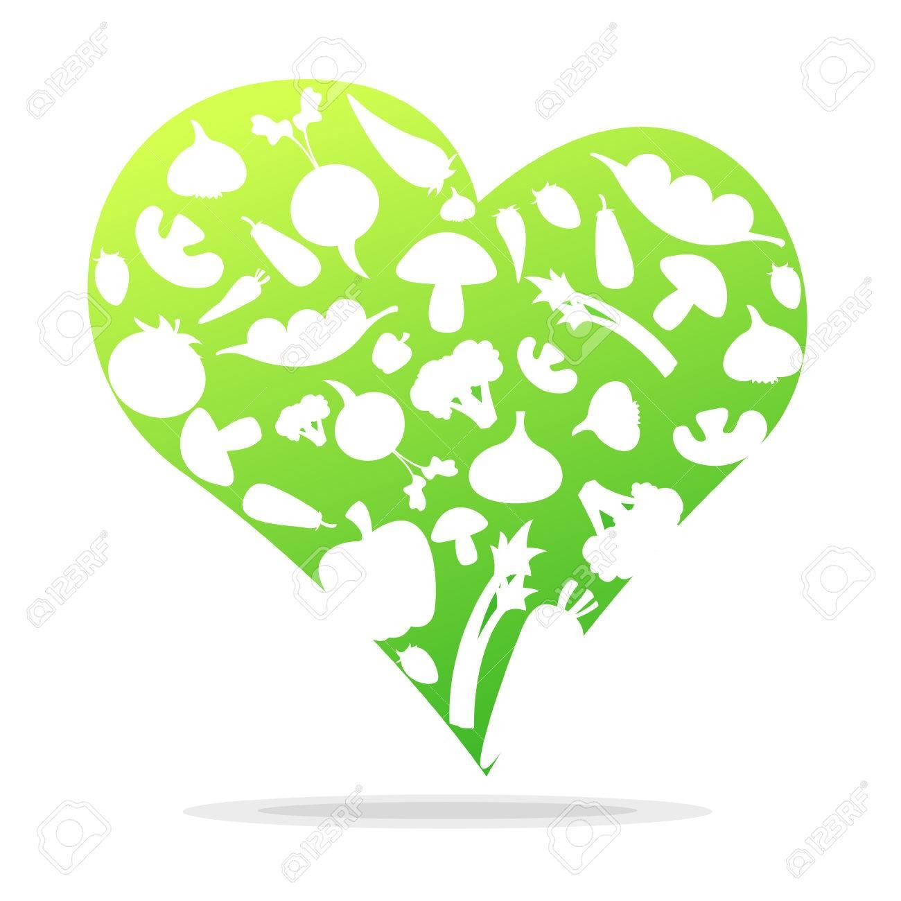 Vegetables in heart shapes. Love to eat vegetables. - 25470565