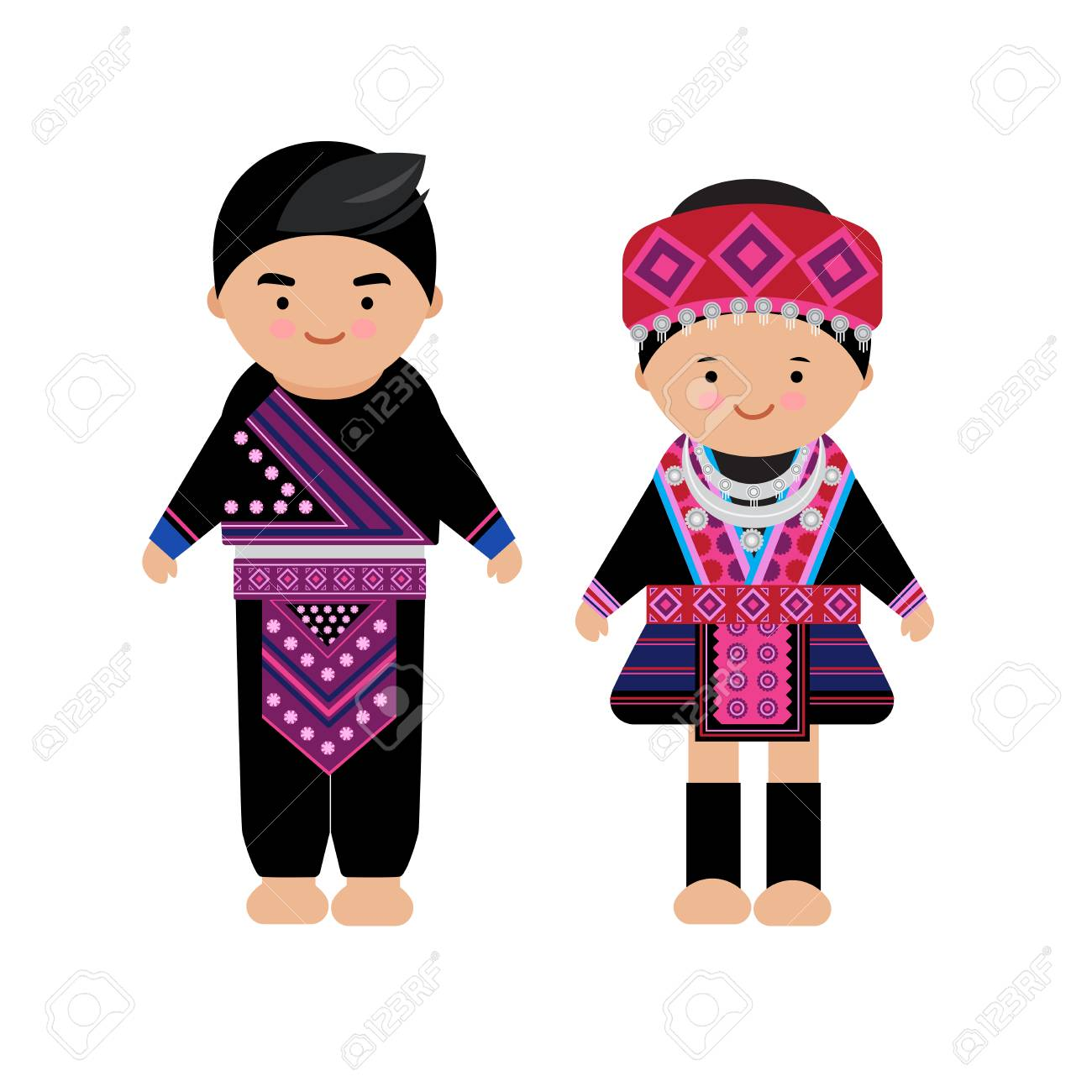 Vector of hilltribe woman and man dress, Hmong, northern tribe, of thailand - 111605957
