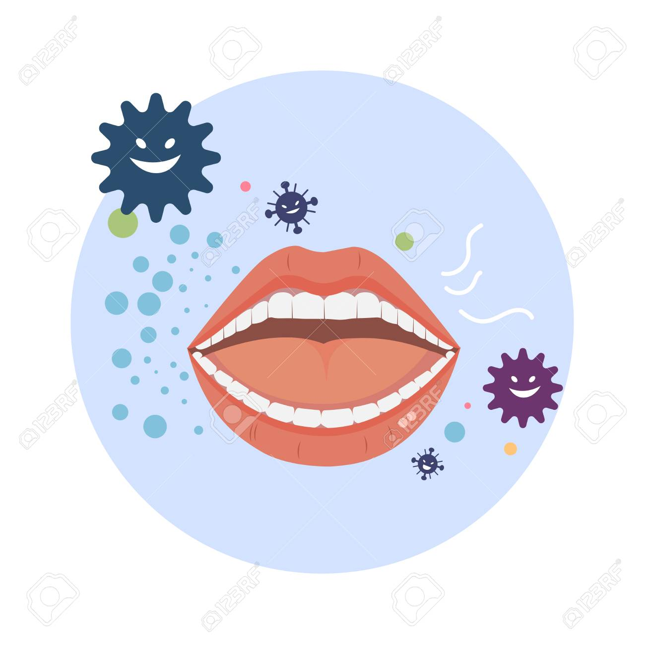 Bad breath vector with bacteria on white background. - 125506374