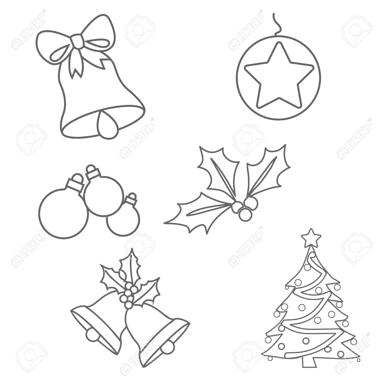 Christmas Ornaments Colouring Pages On White Background Royalty Free ...