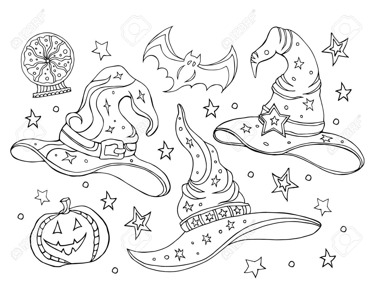 Set with magic hats. Black and white vector illustration of a witch hats, broomstick, crystal ball. Halloween set, coloring book. Hand drawing. - 171977928