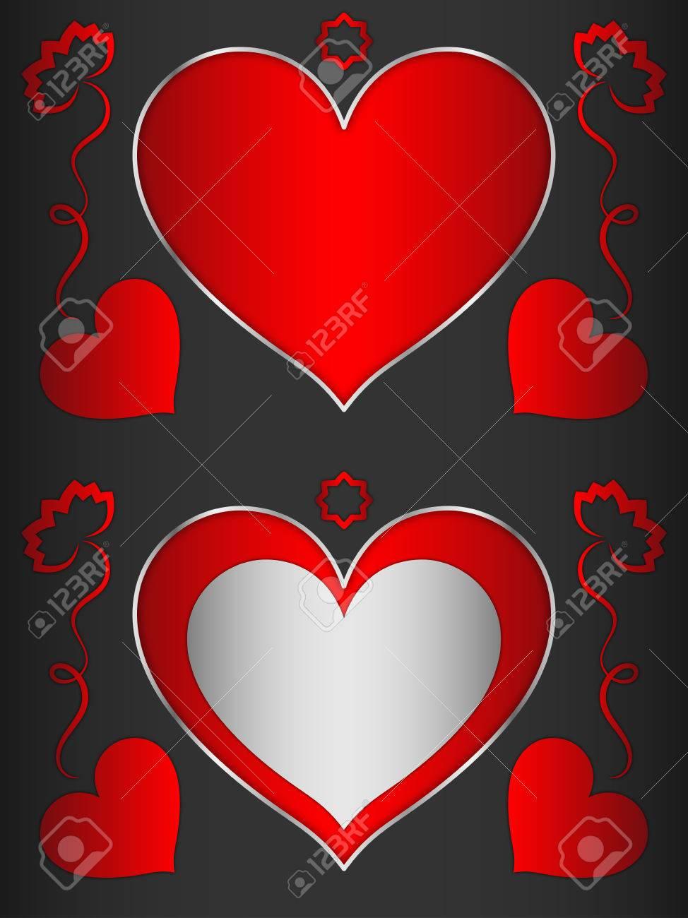 Corazón, Marco En Forma De Corazón Con Corazones Rojos Y Flores ...
