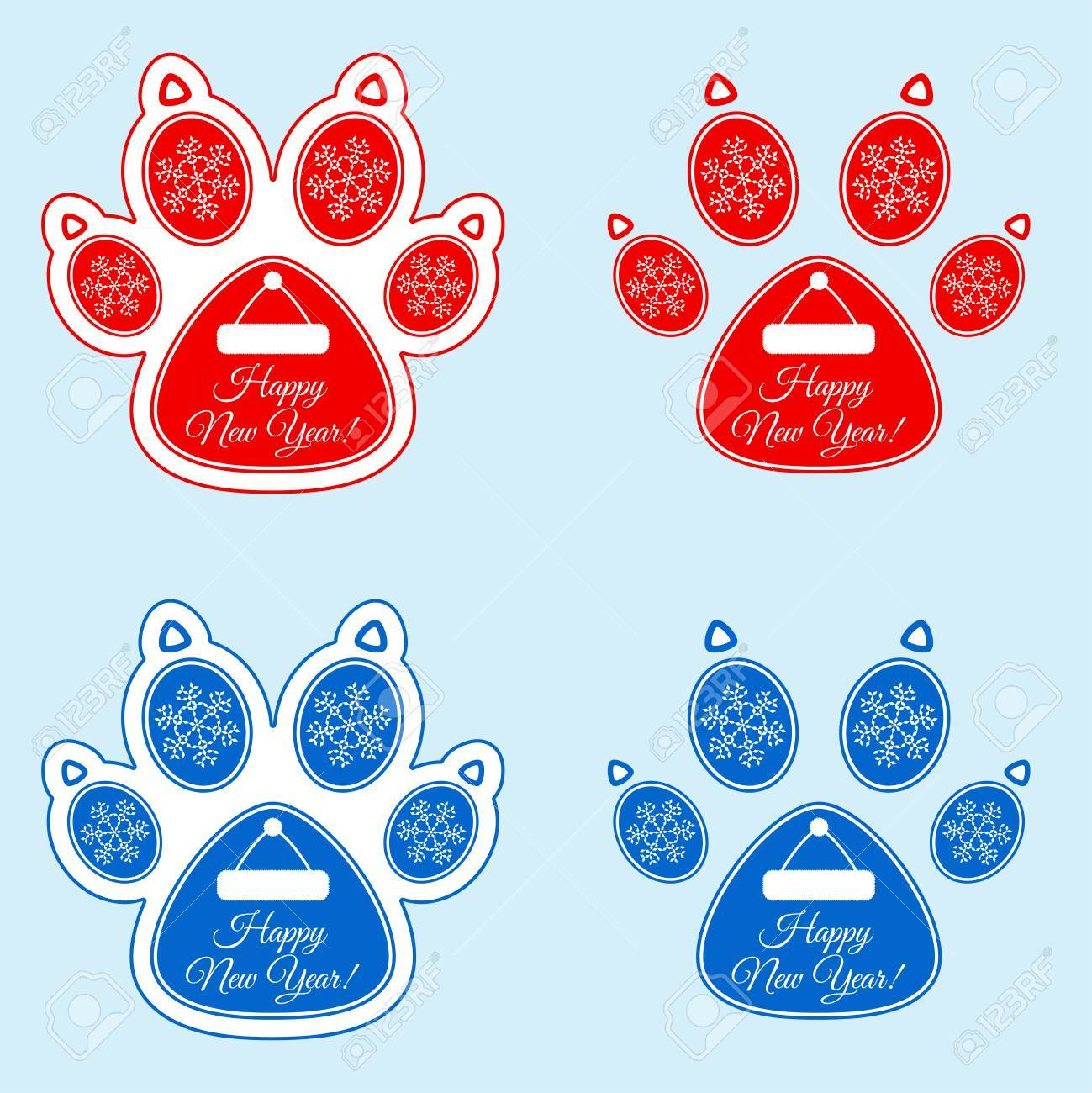 new year sticker of dog paw stock vector 88589805