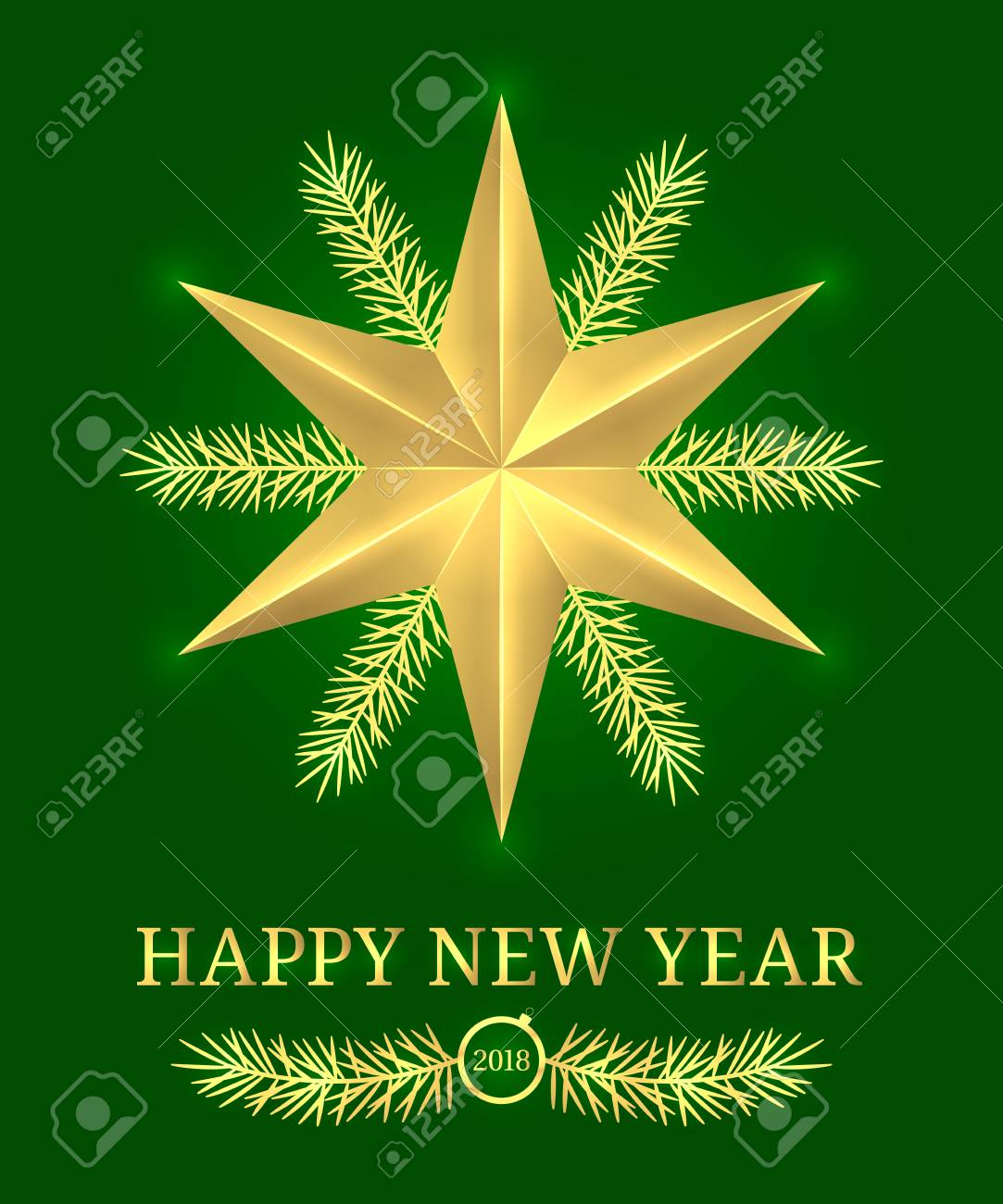 Happy New Year 2018 Vector Holiday Banner With New Year Greeting