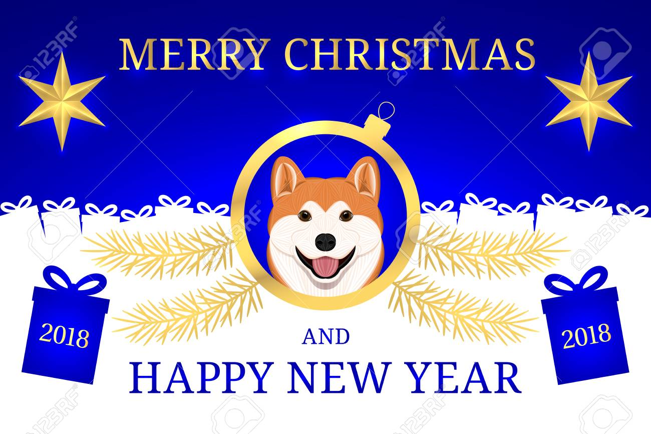 Happy New Year 2018 And Merry Christmas With Akita Inu Dog Vector