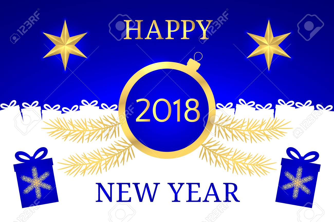 Happy New Year 2018 Vector Banner With New Year Greeting In