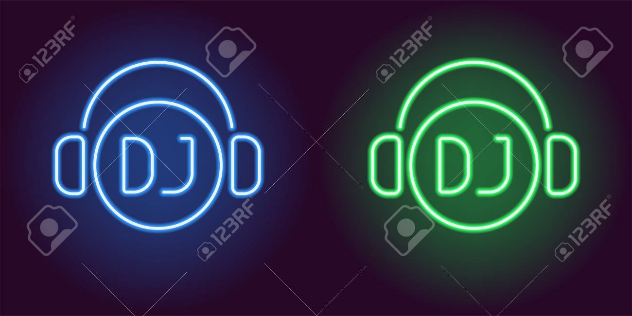 Neon Dj Sign In Blue And Green Color Vector Illustration Of