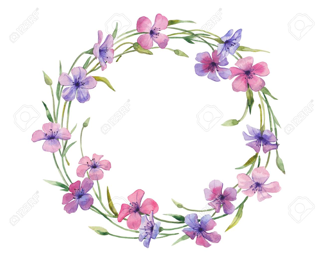 Watercolor Illustration Of Floral Wreath Violet Purple And Stock