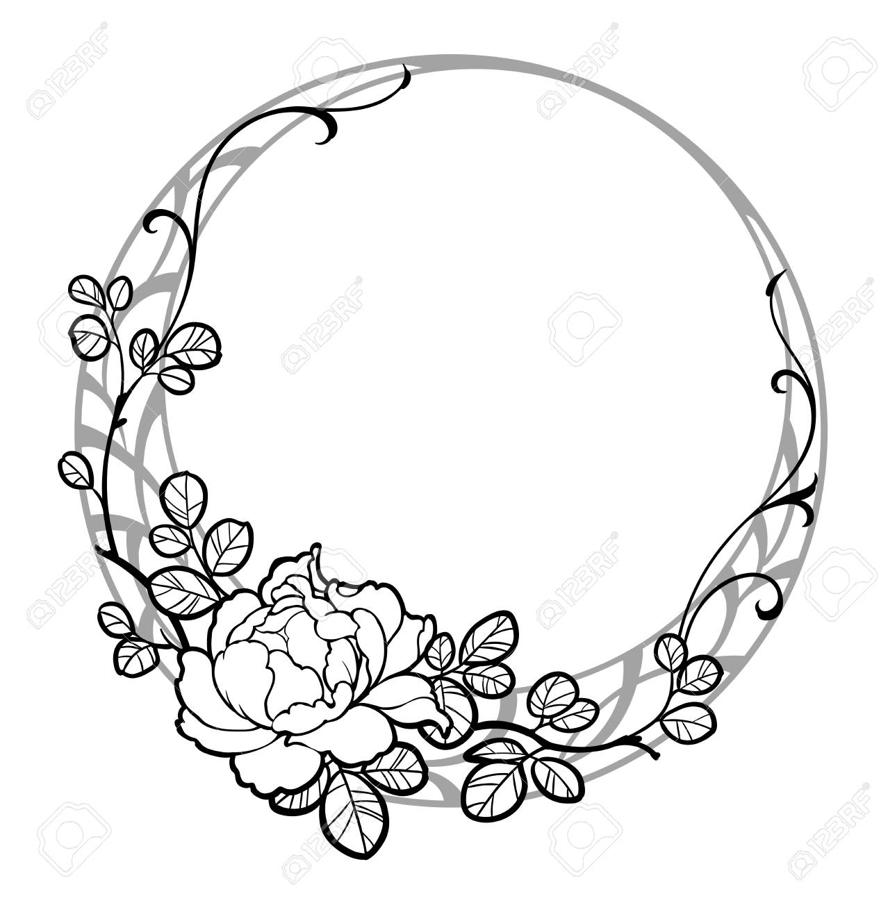 Hand Drawn Decorative Round Frame With Peony Rose Flower. Black ...
