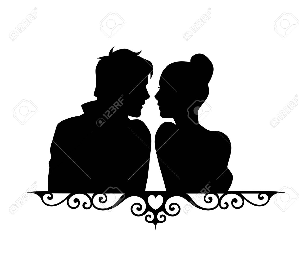 Loving couple sketch silhouette illustration isolated on white background for wedding and valentine day