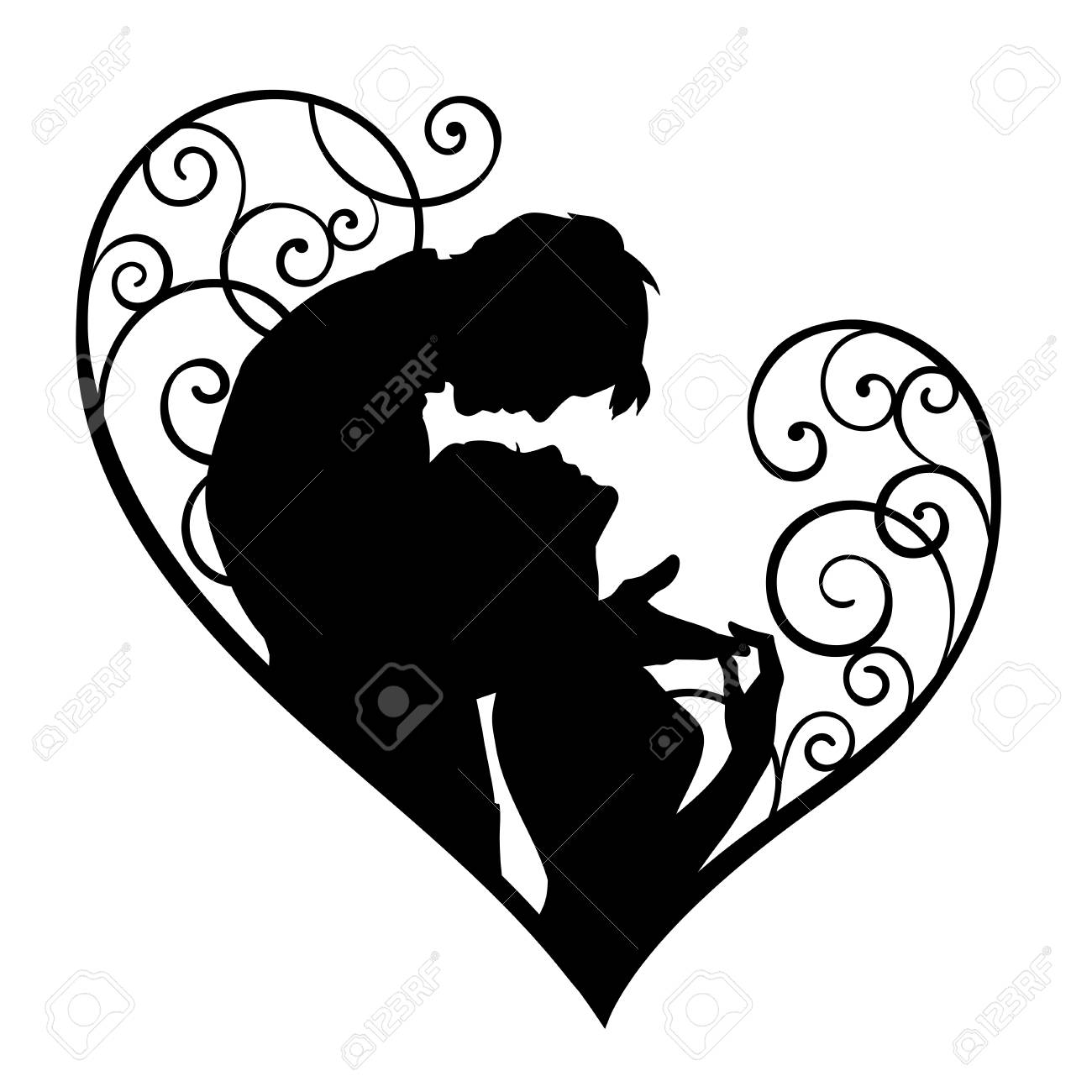 Loving Couple In Decorative Heart Sketch Silhouette Isolated Royalty Free Cliparts Vectors And Stock Illustration Image 72458819