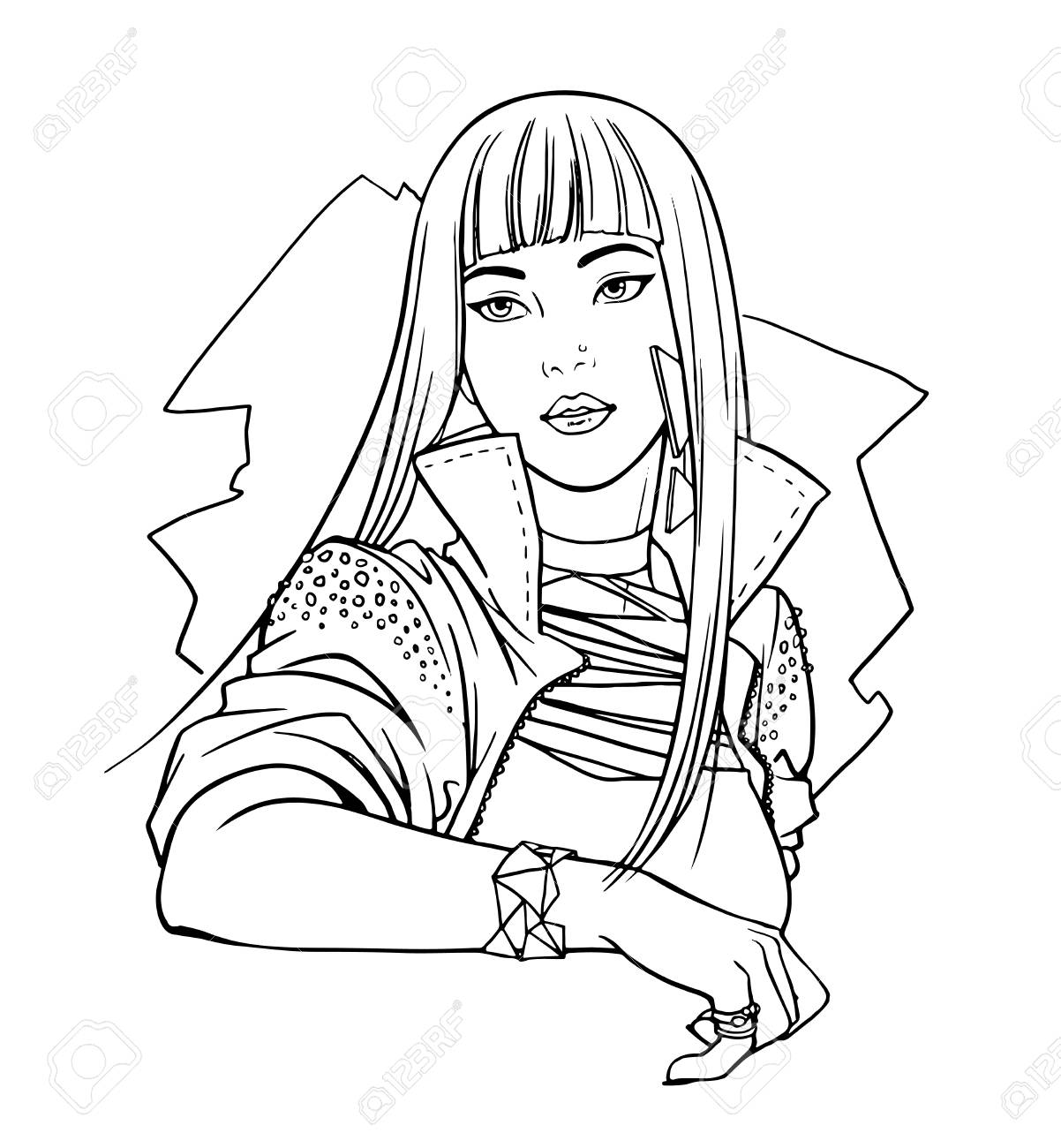 Ilustración Del ídolo Adolescente Japonés Del ídolo, Muchacha ...