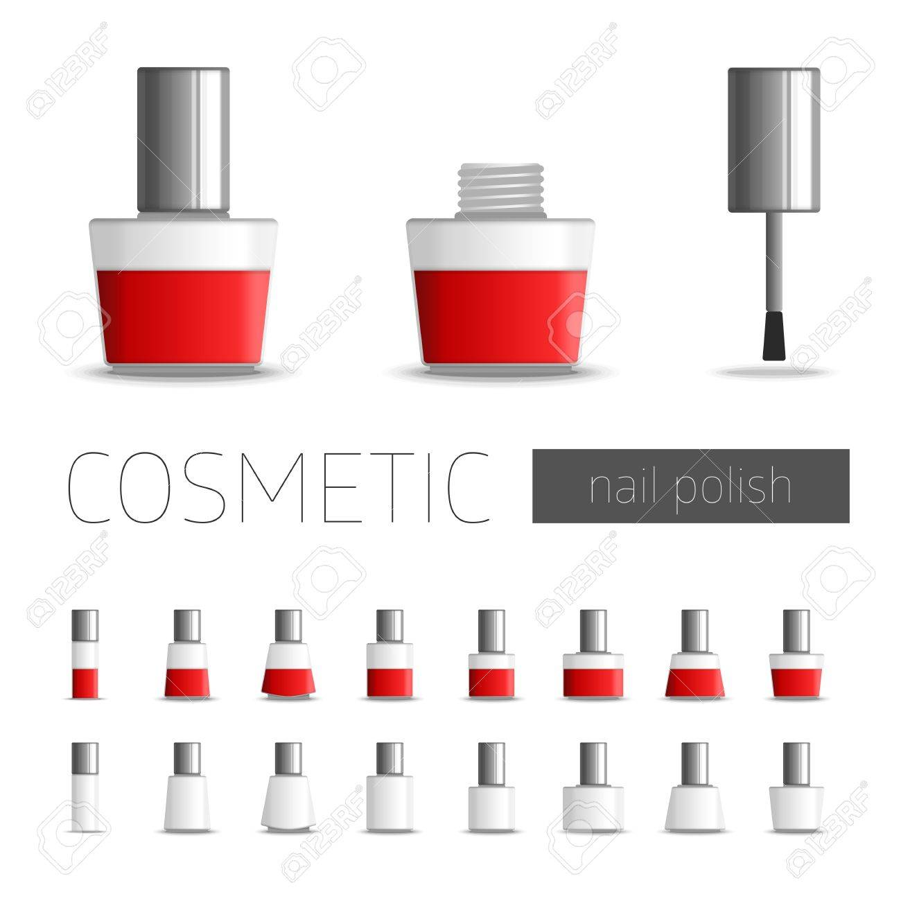 Realistic Illustration Of Nail Polish. Vector Template Package ...