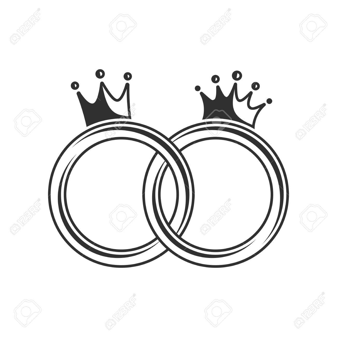 Wedding rings on a white background. Vector illustration of wedding rings with a closed royal crown. - 52898186