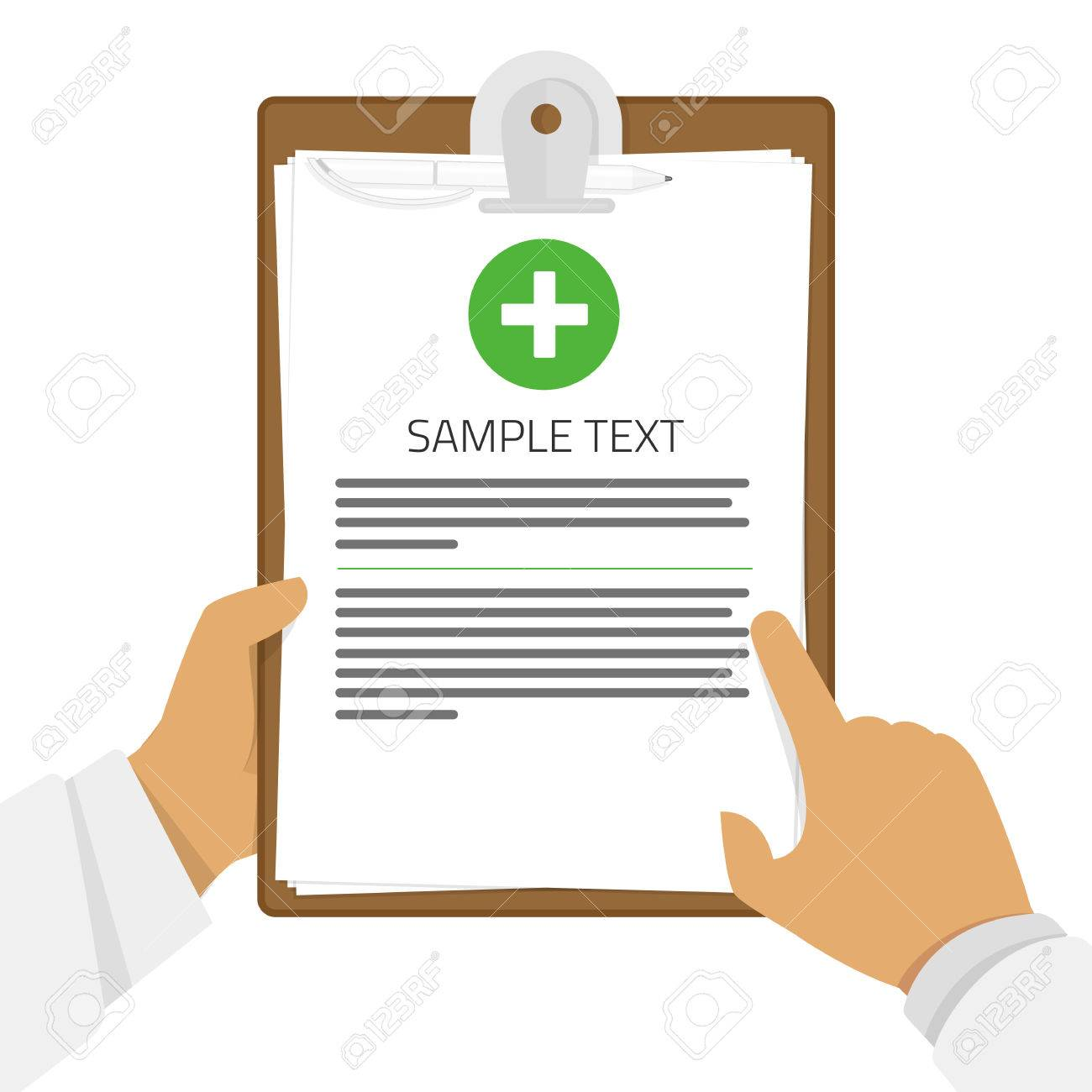 Clipboard in his hand doctor  Medical report, medical background