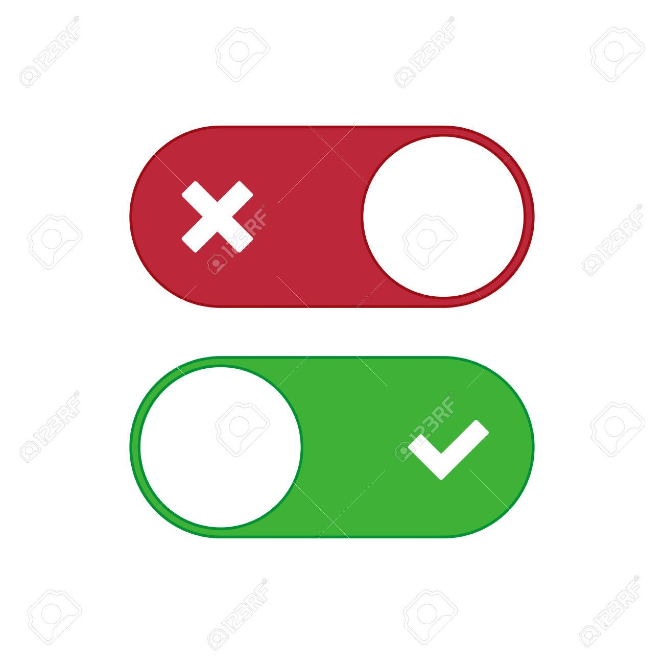 Universal Toggle Switch Vector Icon, On And Off Position Simple ...