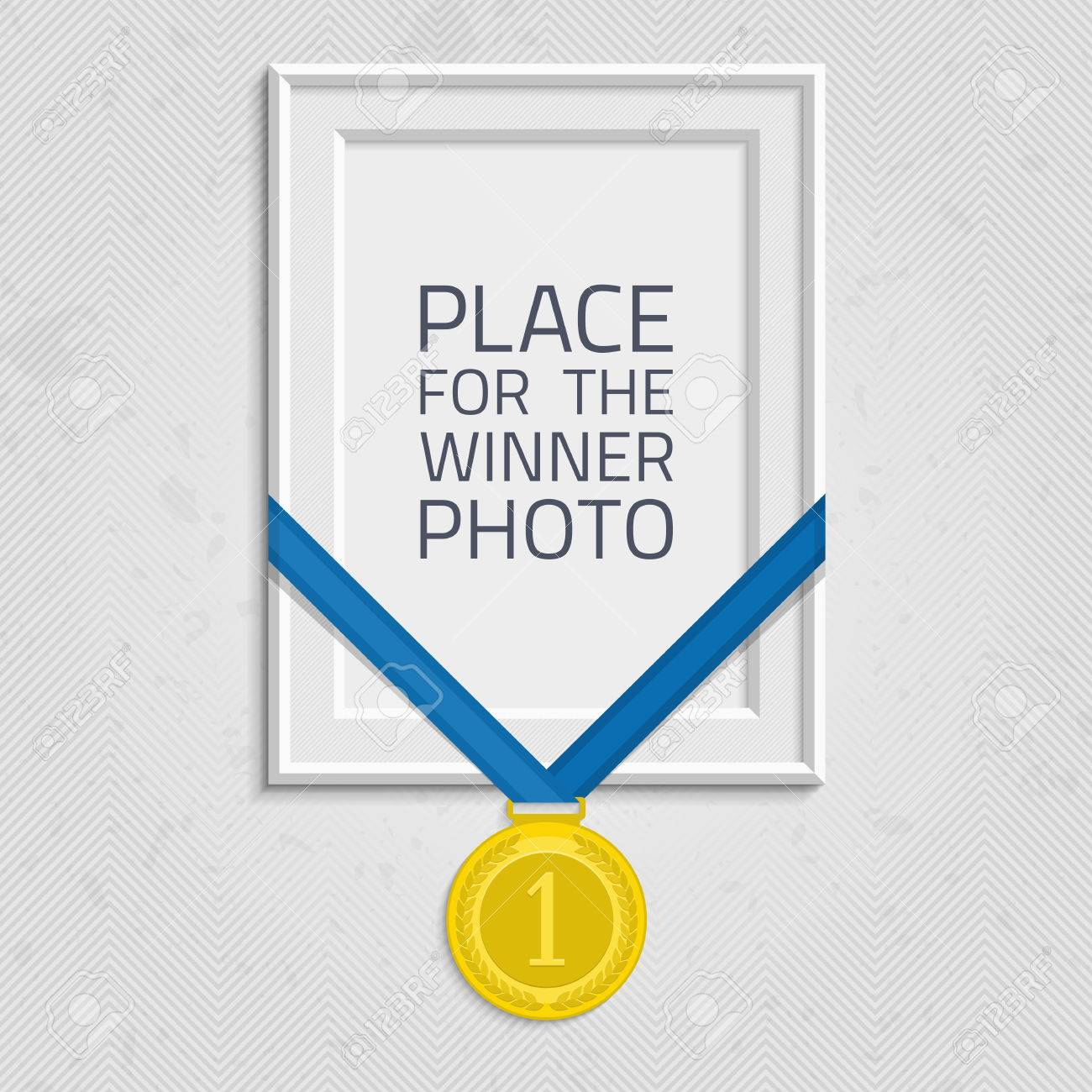 Vector Photo Frame Template With Medal Competition Winner Frame