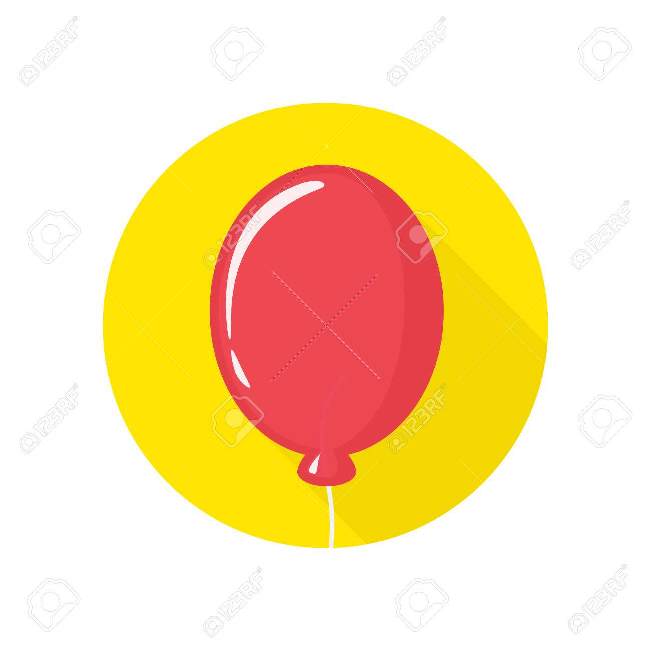 Red Balloon Sign Icon With Long Shadow Birthday Air Balloon