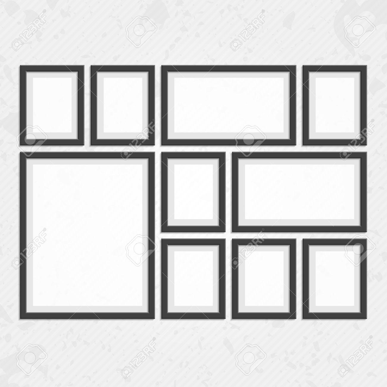 Sammlung Von Schwarzen Rahmen. Holz Quadrat Bilderrahmen Aus Dunklem ...