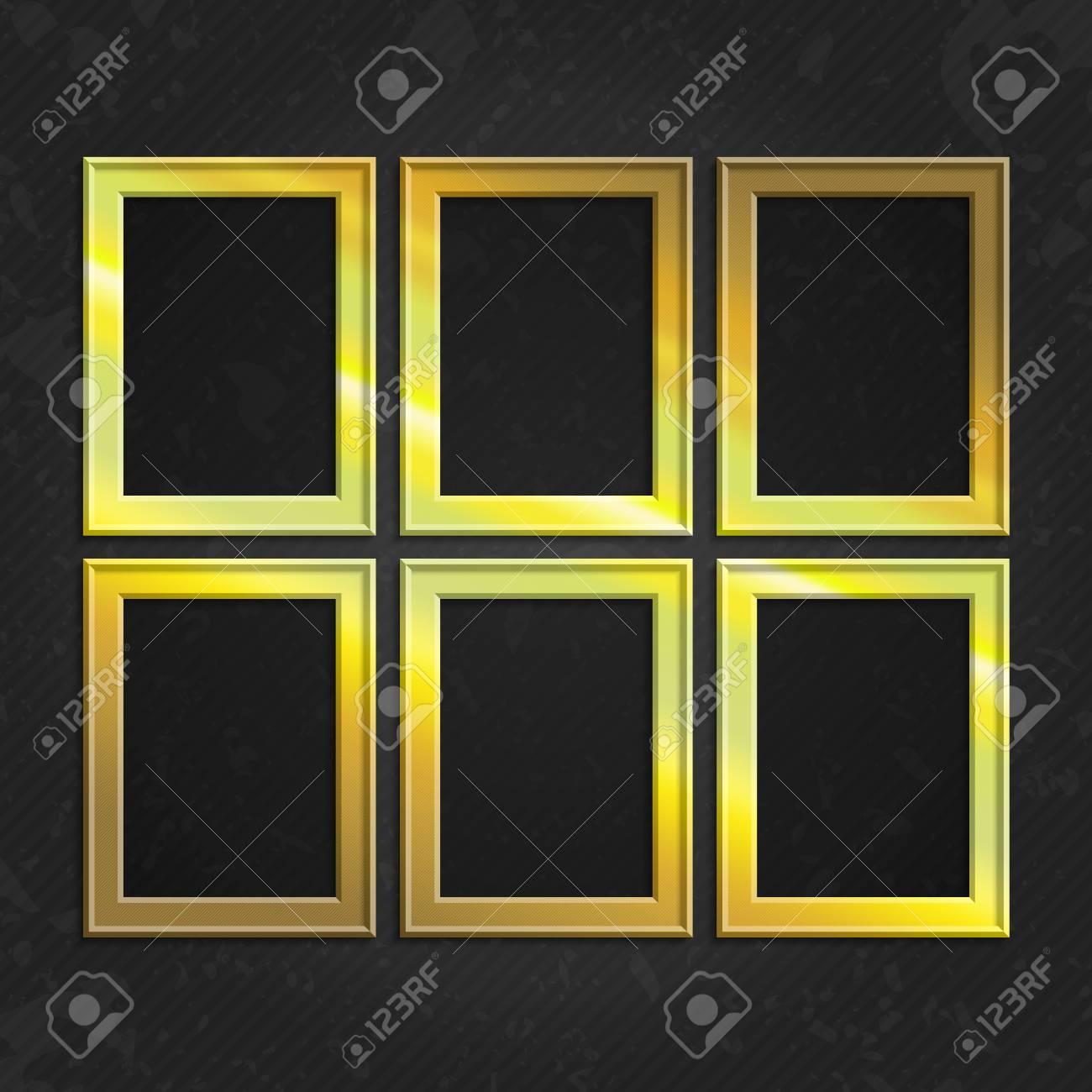 Set Of Gold Wooden Frames. Wooden Square Picture Frames Of Gold ...