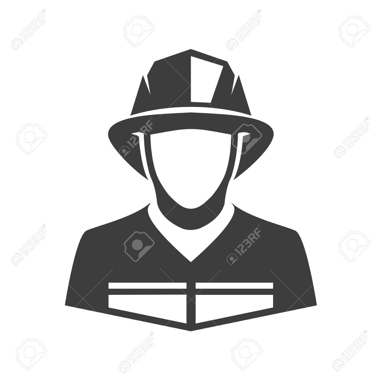 Fireman vector icon. Illustration of fireman isolated on white background in flat style. Icon of man in fireman uniform. - 61190940