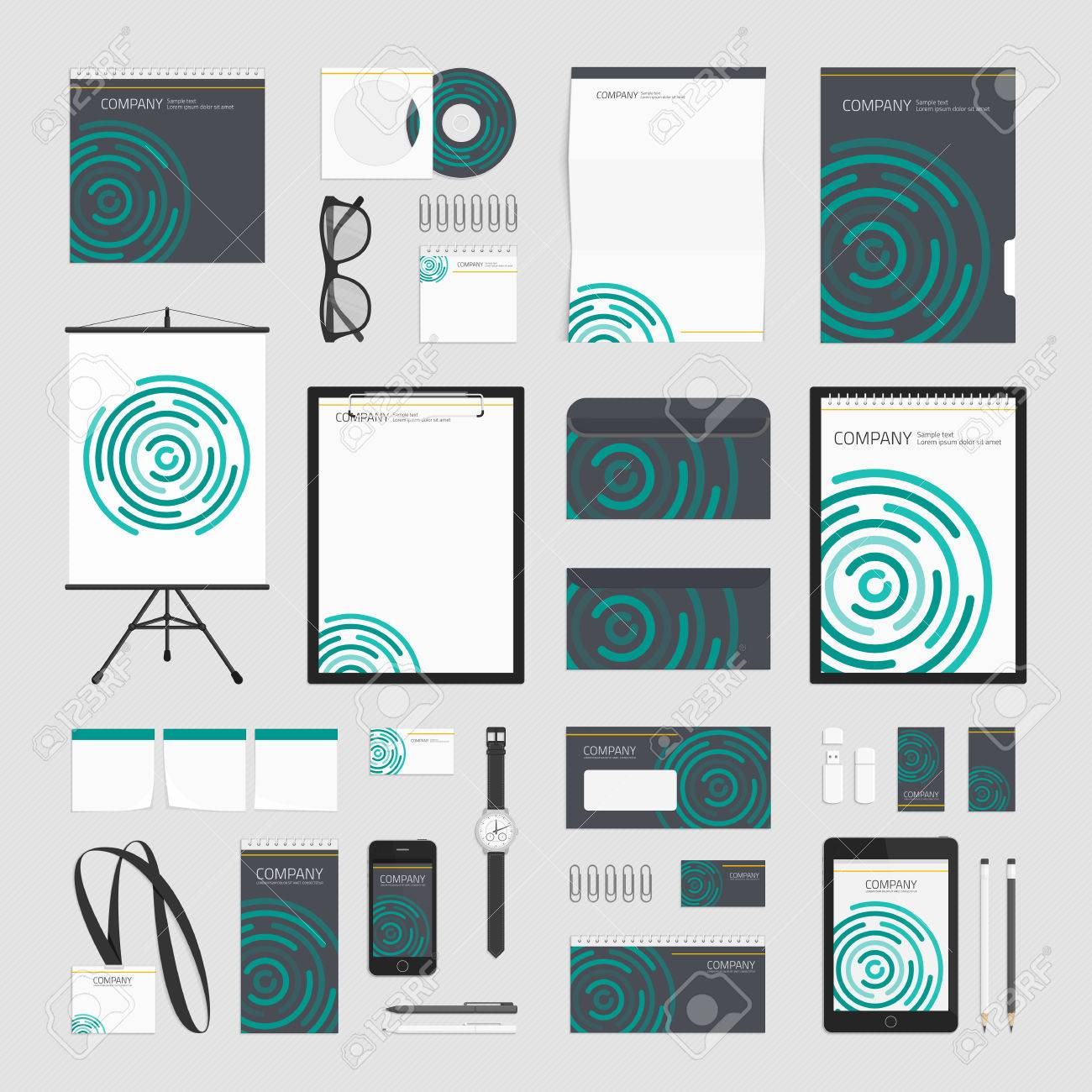 circular ripple wave corporate identity template vector company style for brand book or guideline
