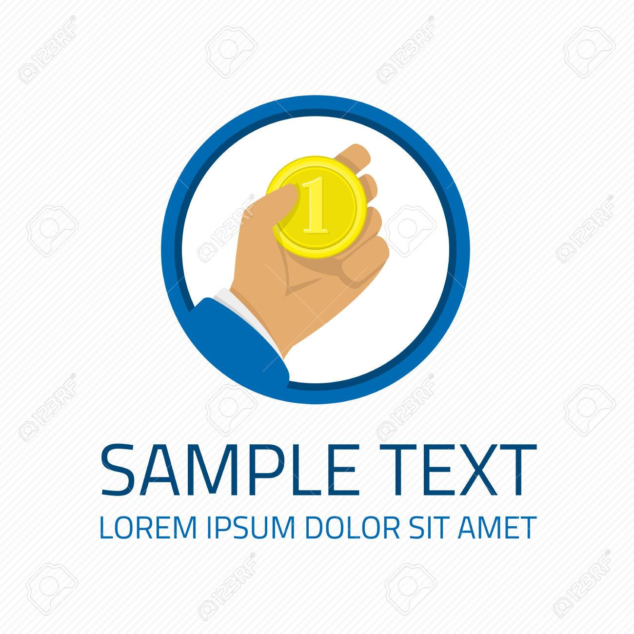 Logo template money in hand  Gold coin in arm man graphic element